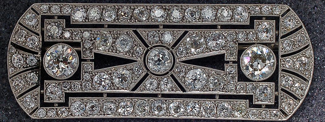 Diamant Erbschaft art deco Brosche